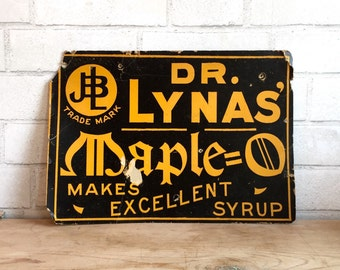 Old Maple Syrup Sign   Cardboard   Rustic Industrial   Kitchen