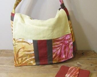 Sunset Leaves Patchwork Messenger Bag