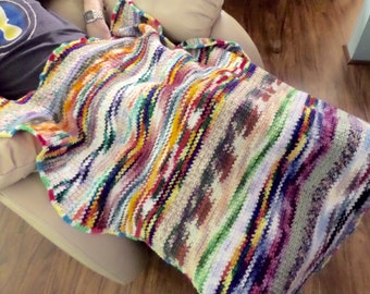 Crochet Lap Blanket, Colorful Striped Throw Small Afghan Buy One Donate One