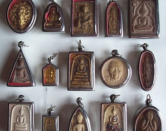 15 Thai Buddhist Buddha Buddhism Clay Amulet Medallions Charms Pendants Set