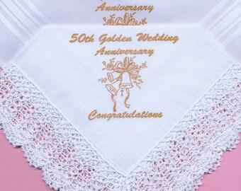 50th Golden Wedding Anniversary His and Hers Handkerchief Gift Set