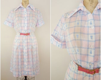 Vintage 1960s Dress / 1950s Dress / Day Dress / Pastel Plaid Palm Trees / Medium