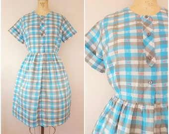 Vintage 1950s Dress / Turquoise Plaid / Day Dress / Cotton Shirtdress / Large