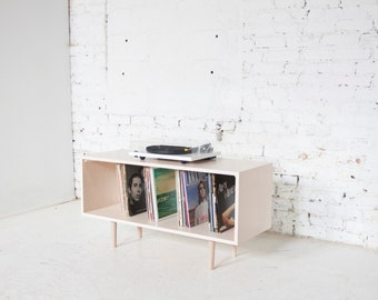 Mid Century Modern Inspired Handcrafted Maple Record Cabinet // Small Petite Console Credenza