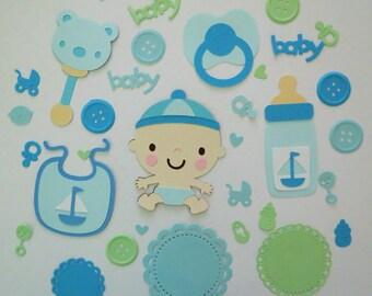 Baby Boy Bottle Binky Bib Bottle Pacifier Rattle Paper Die Cut Scrapbook Embellishment Cupcake Topper