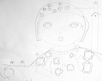 pencil drawing of girl abstract, sketch, original drawing, original pencil drawing