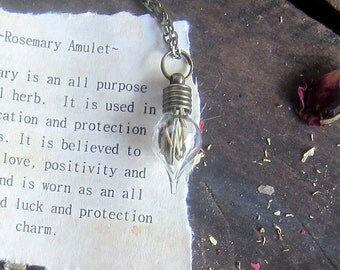 Witchcraft Herbs ROSEMARY vial necklace wiccan jewelry pagan wicca metaphysics herbs magick occult new age witchcraft witch amulet