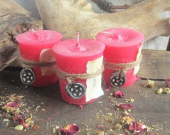 Love Spell Candle  - SET OF 3 - witchcraft wicca wiccan candles pagan occult altar supplies scented magick candles spells