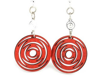 ICircled Dangle Earrings - Laser Cut wood