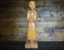 Vintage French Statue Wood Carving Lady Nun Monk circa 1960-1970's / English Shop