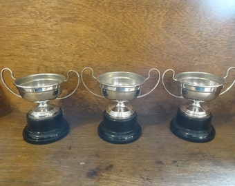Vintage English EPNS Silver Plated Metal Trophy Cup Un-Engraved Award Prize Trophies SOLD INDIVIDUALLY circa 1960-70's / English Shop