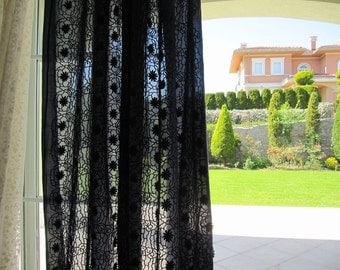 Navy blue sheer CURTAIN panels embroidered broderie anglaise Lightweight cotton rustic - Shabby chic beach cottage door window curtain