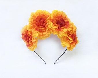 Marigold, Flower Crown, Day of the Dead, Dia de los Muertos, Frida Kahlo, Sugar Skull, Costume, Mexican, Floral Crown, Fiesta, Halloween