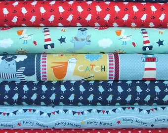 "Ahoy Matey Bundle of 6 Plus a 35"" Panel by Mary Jane Mitchell for Studio E"