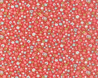 Vintage Picnic Red Wildflowers 55126 11 by Bonnie & Camille for Moda