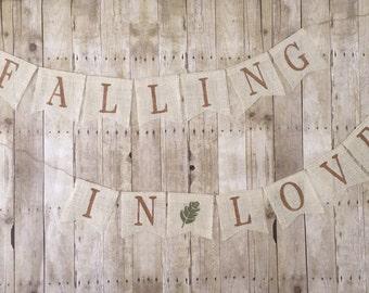 Falling In Love Burlap Banner Rustic Wedding - Baby - Bridal Shower Decor