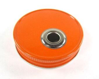 ORANGE One Piece Jar To Go Cup Lid- Regular Mouth Jar- Mason Jar To Go Cup Lid