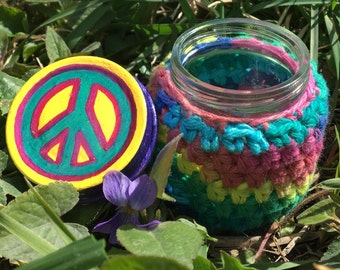SALE! Little Peace Sign Recycled Glass Stash Jar, Hand Wrapped, Hand Painted, small, medicine, hippie, crochet, boho, rainbow OOAK