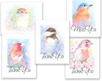 Little Bird Portrait Cards, group of five lovely note cards w/envelopes