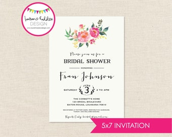 DIY, Bridal Shower Watercolor Flower INVITATION ONLY
