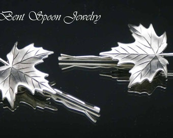 Silver Leaf Hair Pins, Set of two Silver Ox Maple Leaf Bobby pins, Hair Jewelry