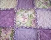 Small Purple Rag Quilt - Purple Rag Quilt - Shabby Chic Rag Quilt - Purple Rag Blanket - Purple Blanket - Purple Quilt