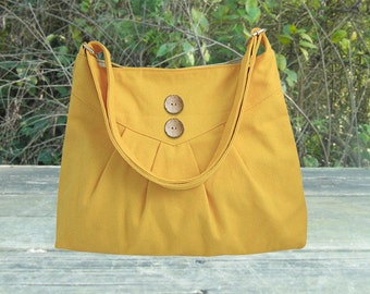 Golden cross body bag / messenger bag / shoulder bag / diaper bag  - cotton canvas