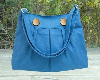 Blue cotton canvas messenger bag, shoulder bag, diaper bag,cross body bag, zipper closure