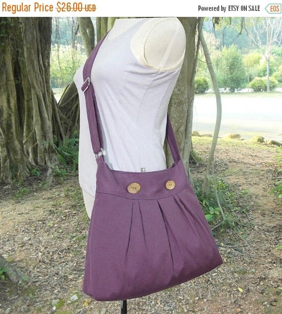 On Sale 10% off purple cotton canvas travel bag / shoulder bag / messenger bag / diaper bag / cross body bag, zipper closure