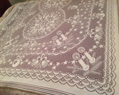 Large Christmas theme lace tablecloth VINTAGE ,Perfect SHAPE awesome drape soft flowing lace SALE