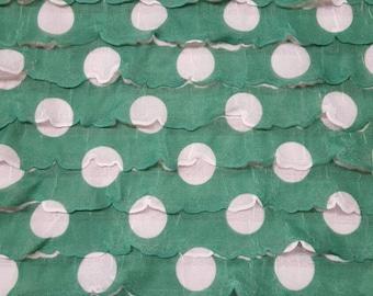 White Polka Dot on Green Ruffle