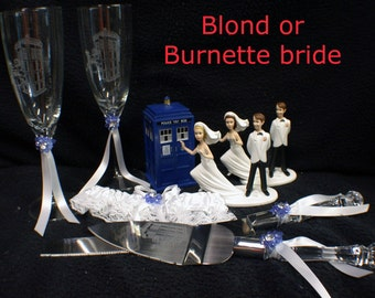 Doctor Who Tradis Wedding Gift LOT Cake topper Glasses Knife Server Dr Who Blond or Brown hair Bride Can be name and date personalized
