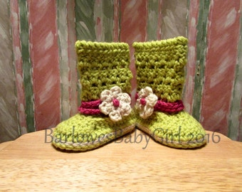 NEW - Buggs - Crochet Lacey Baby Boots w/ Detachable Flower - Customize Your Colors