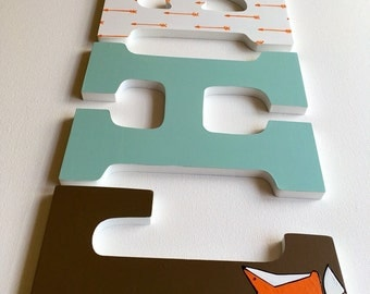 Modern Woodland Letters, Fox, Feather, Arrow - Nursery Wall Decor, nine inch letters, blue, brown, orange and gray