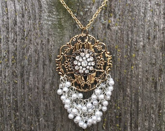 Gorgeous antique gold and pearl necklace