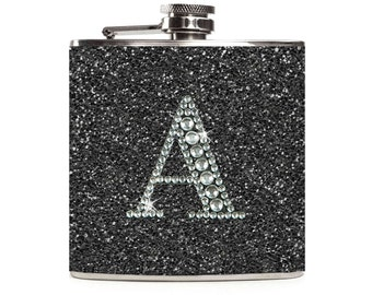 Black Flask with Personalized Rhinestone Initial, Sparkle Glitter Flask for Women, 6oz Stainless Steel Hip Flask