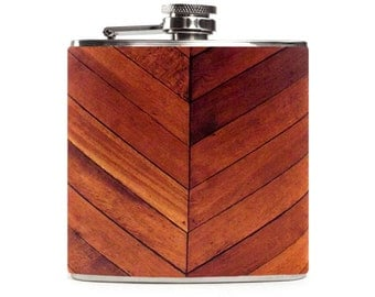 Wood Flask, Custom Wooden Outdoor Wedding Party Gift, Groomsmen Flask, Stainless Steel 6oz Hip Flask