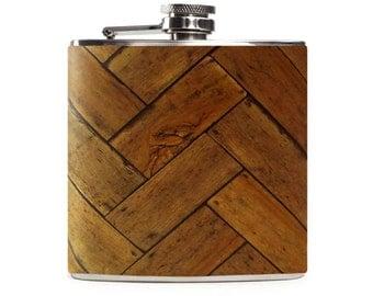 Wooden Flask, Personalized Wood Custom Country Outdoor Wedding Gift, Groomsmen Flask, 6oz Hip Flask
