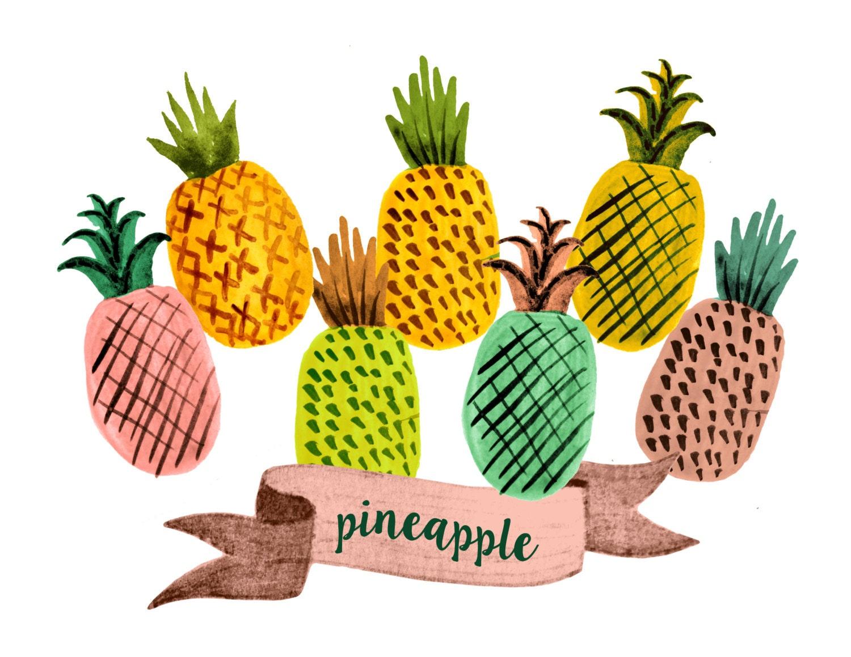 pineapple clipart fruit clipart watercolor fruit clipart