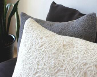 Cream pillow: cream wool pillow, ivory pillow, white throw pillow with texture, modern home decor,