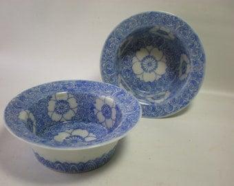 Vintage Pair of Blue Transferware Desert Cups