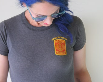 1970s Vintage Another US ARMY High School Tshirt...size small...combat. retro tee. rad. 70s. school. hipster tee. small. xsmall. gray.