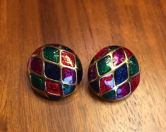 Vintage Harlequin Colorful Enamel Clip on  Earrings