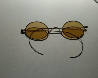 Civil War Era Yellow Lens Shooter Glasses Sunglasses - Ben Franklin style - Steampunk