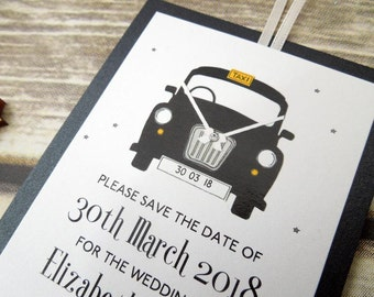 Personalised London Black Taxi Cab Wedding save the date cards - also available in white