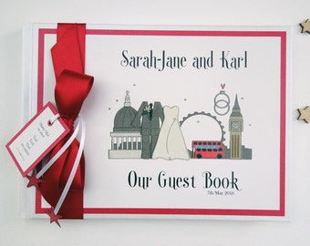 Personalised London themed Wedding Guest Book