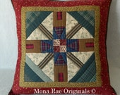 "Cabin Art Pillow ~ OOAK 25"" Hand Quilted Pillow ~ Cabins and Trees in Red, Gold, Brown and Green ~ Removable Pillow Form"