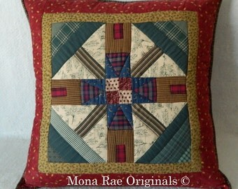 """Cabin Art Pillow ~ OOAK 25"""" Hand Quilted Pillow ~ Cabins and Trees in Red, Gold, Brown and Green ~ Removable Pillow Form"""