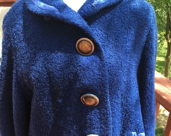 vintage blue coat. Woman's Long coat. Warm coat. Mid century coat. Costume coat for 50s or 60s play. Halloween costume, grandma costume