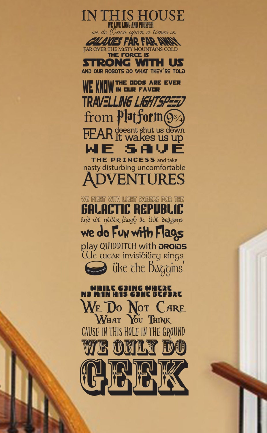 In This House We Do Geek CUSTOMIZABLE Vinyl Wall Decal V - Customized vinyl decals